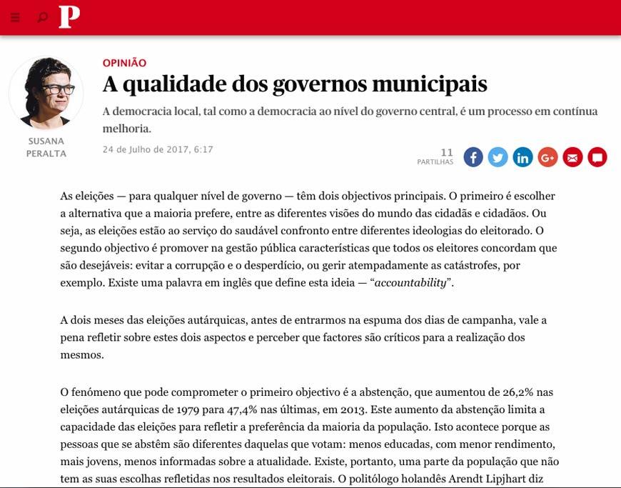 A qualidade dos governos municipais